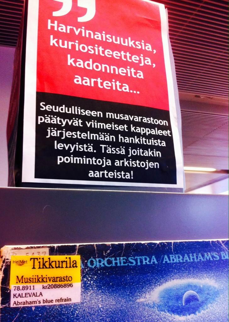 30 000 CD-levyn lisäksi Kirjasto Kympistä voi lainata myös Saundiholvin eli Tikkurilan musiikkivaraston aineistoja. Kirjastossa on oma hylly varaston aarteille.