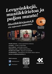 Saat Musiikkikirjastot.fi:n palvelut esiin asiakkaille myös julisteena tai infotelkkarin kuvana. Aineistot löytyvät Kirjastot.fi:n Materiaalipankista.